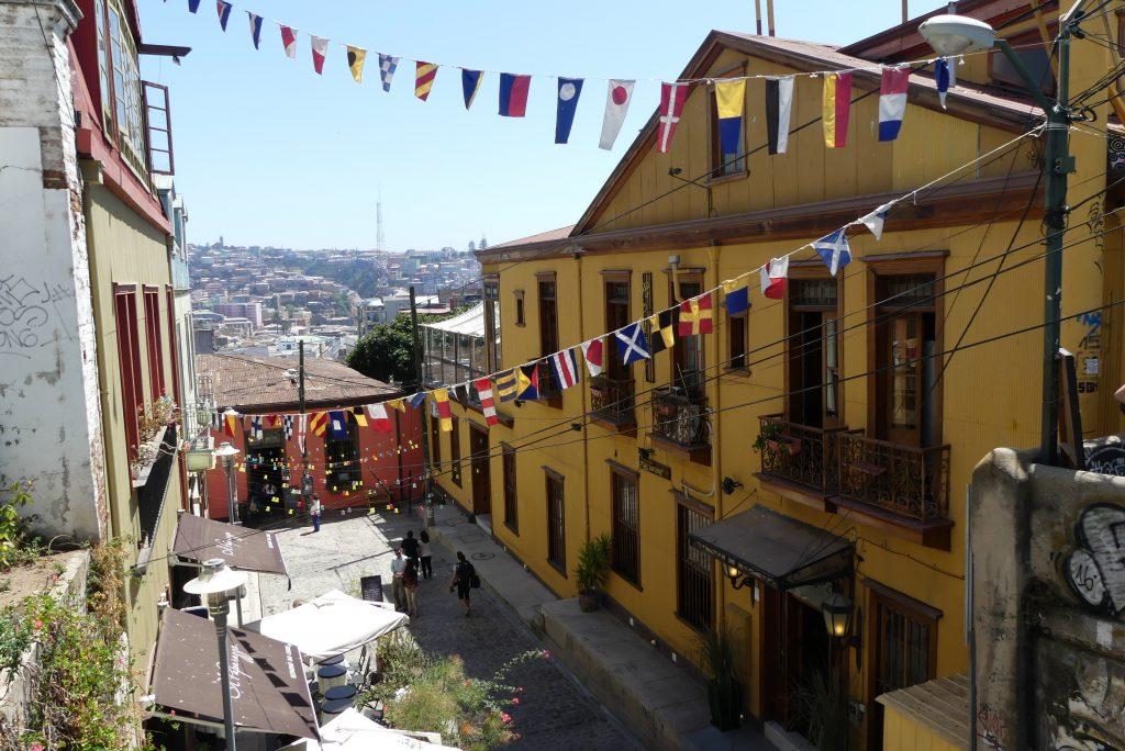 Bunte Häuser in Valparaíso