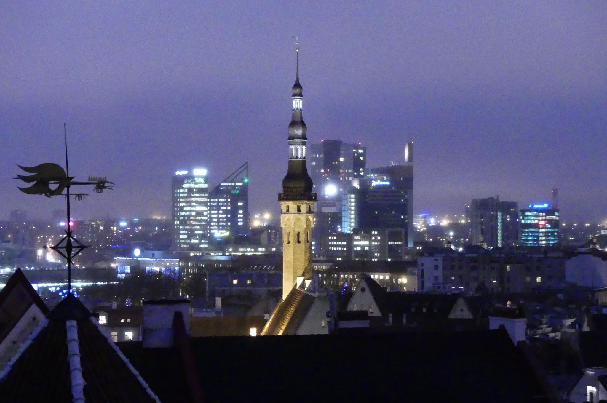 Tallinn während der blauen Stunde