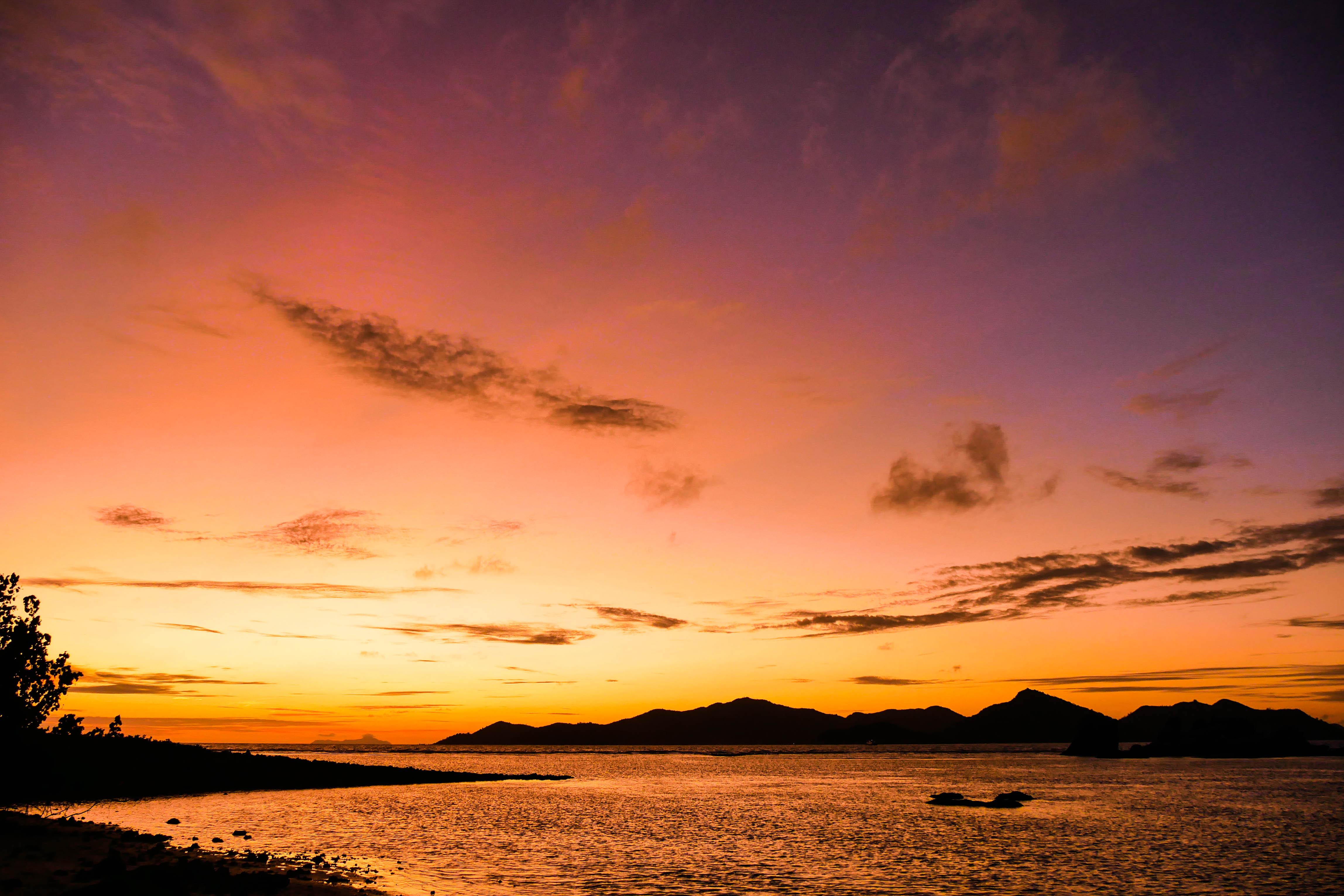 Sonnenuntergang auf La Digue, Seychellen